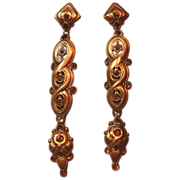 Shoulder Dusters Long Pierced Post Earrings Signed Berebi Faux Topaz Rhinestones Gold Tone