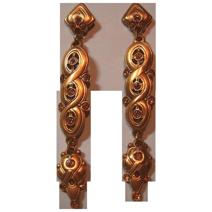 Shoulder Dusters Long Pierced Post Earrings Signed Berebi Faux Topaz Rhinestones Gold Tone