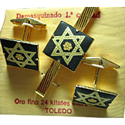 Men's Tie Clip & Cuff Links Set Vintage Star of David Damascene