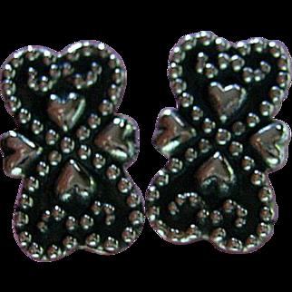 Vintage Sterling Silver 925 Hearts Clips Earrings