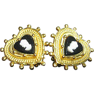 Pretty Heart & Cameo Clips Earrings Signed