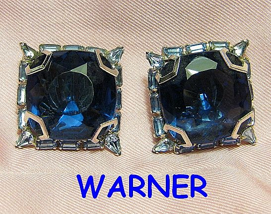 Signed Warner Blue Big Faux Sapphire Squares & Baguette Rhinestones Silver Tone Earrings