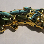 Brooch/Pin Limited Edition Signed Carolee Big Cat Leopard Black Rhinestone