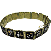 Vintage Japanese Damascene Panel Bracelet