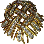 Signed KJL Kenneth J. Lane Woven Ribbon Heart Brooch / Pin Rhinestones