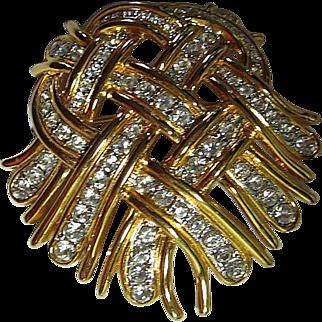 Signed KJL Kenneth J. Lane Woven Ribbon Heart Brooch / Pin Rhinestones