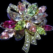 Weiss Vintage Colorful Rhinestone Flower Brooch/Pin