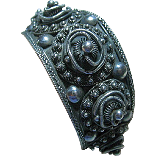 Vintage Cannetille Siam Sterling Silver Cuff Bracelet Handcrafted