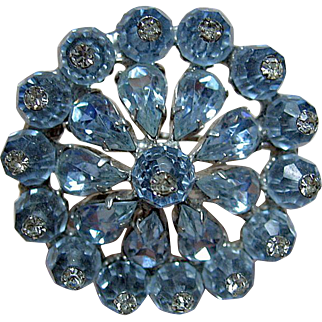 Vintage Signed Weiss Baby Blue Rhinestone Brooch / Pin