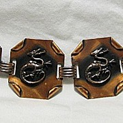Vintage Showy Copper Chunky Dragons Bracelet