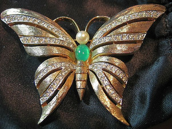 Gorgeous Signed Panetta Vintage Gold Tone & Rhinestone Butterfly Brooch/Pin