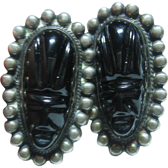 Vintage Mexico Black Carved Onyx & Sterling Silver Tribal Face Screw Earrings