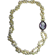 2 Strands Mother of Pearl Beads & Cameo Vintage Necklace