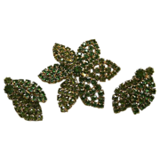 Vintage Signed Weiss Olivine/Emerald Green Small Brooch/Pin & Earrings Rhinestone Flower SET