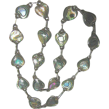 Vintage Hearts Necklace Dainty Mexican Abalone Sterling Silver 925
