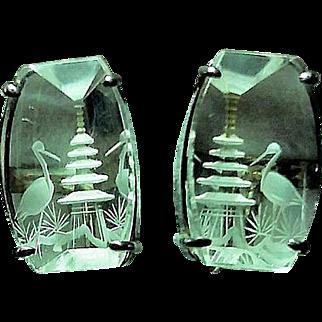 Vintage 1950's Carved Crystal Pagoda & Bird Screw Earrings