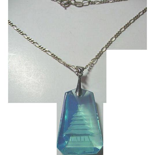 Vintage Blue Carved Crystal Pagoda Sterling Silver Pendant/Necklace