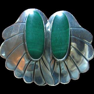 925 Sterling & Malachite Earrings South Western Style