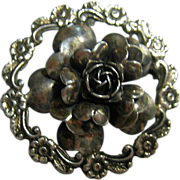 Signed Peruzzi Florence Vintage Rose Brooch/Pin 800 Silver