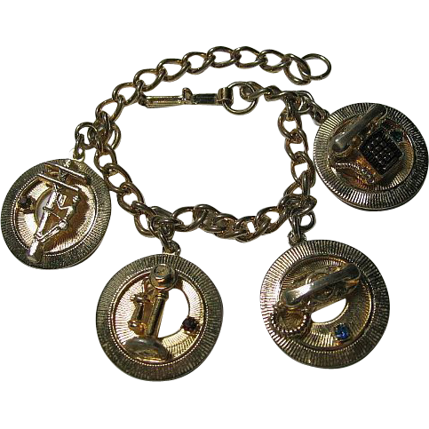 Vintage 1960's Bell Telephone Charm Bracelet Gold Tone