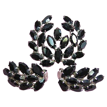 Vintage Demi-Parure Set Signed B. David Dainty Black Navette Rhinestone Brooch, Earrings