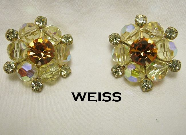 Sparkling Weiss Dainty Rhinestone Earrings Yellow Aurora Borealis & Citrine Beads Gold Tone