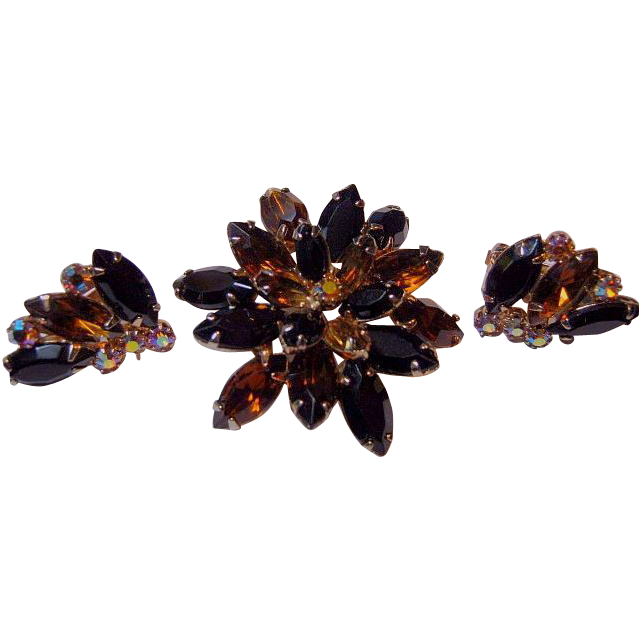 Signed Alice Caviness Vintage Floral Set Pin/Brooch & Earrings Root Beer, AB, Black Marquise Rhinestones Gold Tone