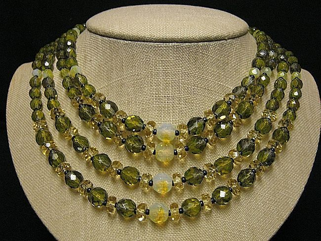 Runway Four Strand Crystal Bead Necklace Facetted Green,Champagne,Givre Opaque & Gold Tone