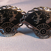 Vintage Fancy Fan Temple Dancers Niello Siam Sterling Silver Earrings