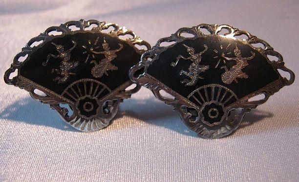Vintage Fancy Fan Temple Dancers Niello Siam Sterling Silver Earrings
