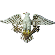 Vintage Big Brooch/Pin Patriotic Signed Coro Enameled Eagle Bird Figural
