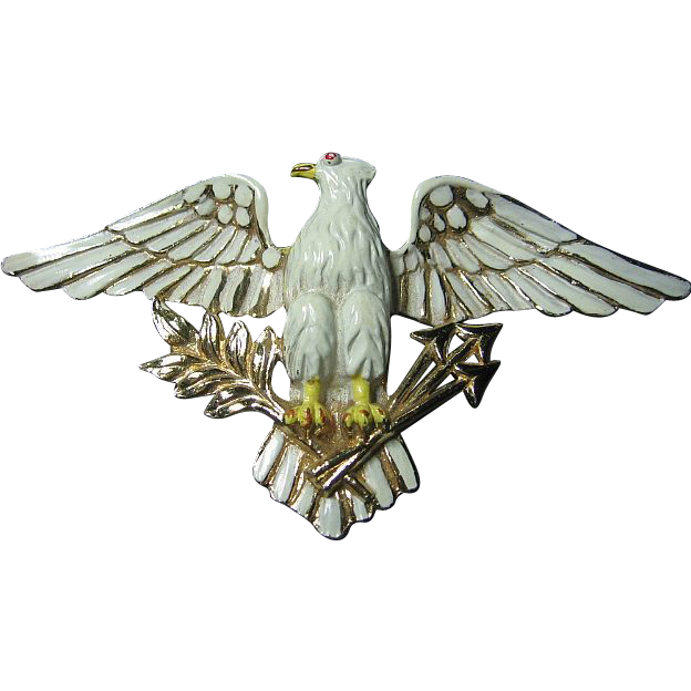 Vintage Patriotic Signed Coro Big Enameled Eagle Bird Brooch/Pin Figural