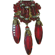 Stunning Miriam Haskell Red Beads,Clear Rondells & Dangles GT Brooch/Pin
