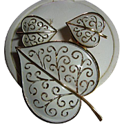 Signed Trifari Heart White Enamel Leaf Brooch/Pin & Earrings Demi Parure