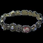 Vintage Unsigned Goldette Slide Bracelet Cameo, Insect, Flowers Gold Tone