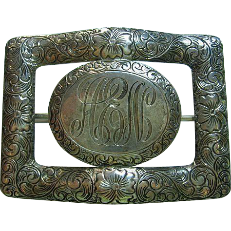 Ornately Engraved Initials AEN Vintage Sterling Silver 925 Sash Brooch