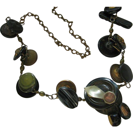 Old Vintage Unique and Interesting Long Button Necklace