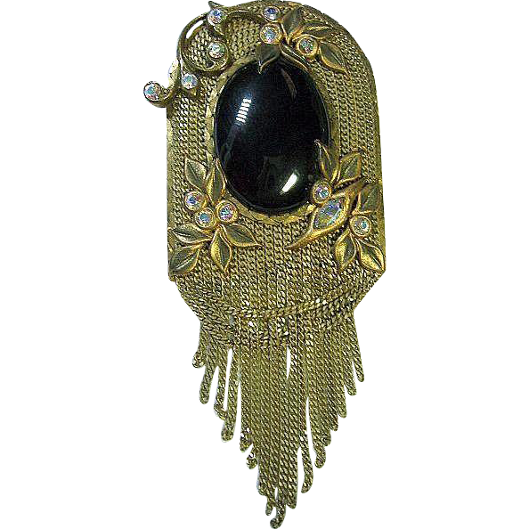 Vintage Marena Tassels Black Onyx & AB Crystals Brooch/Pin Germany