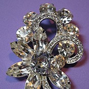 Sparkling Rhinestone Signed Eisenberg Ice Vintage Brooch/Pin Bridal Flower & Ribbon