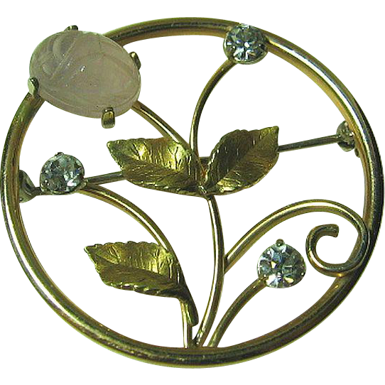 Krementz Dainty Flower Circle Brooch/Pin Pink Agate Scarab & Rhinestone Gold Tone