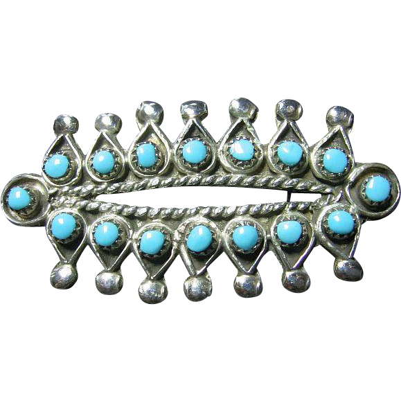Native American Zuni Sleeping Beauty Turquoise & Silver Pin/Brooch