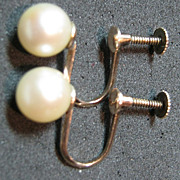 10kt Genuine Gold & Cultured Pearl Screw Earrings Bridal