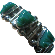 Vintage Sterling Silver 925 Mexican Chunky Bracelet Green Onyx Tribal Faces