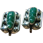 Vintage Screw-On Earrings Sterling Silver 925 Mexican Green Onyx Tribal Faces