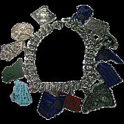 Vintage Sterling Silver 925 Charm Bracelet & Enamel States Charms