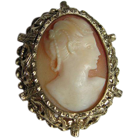 Hand Carved Shell Cameo Ornate Sterling/Gold Tone Frame Brooch/Pin/Pendant
