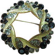 Signed Vintage Coro Craft Black Diamond Rhinestones Gold Tone Wreath Brooch/Pin