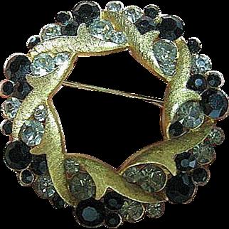 Signed Vintage Coro Craft Black Diamond Rhinestones Gold Tone Wreath Brooch/Pin