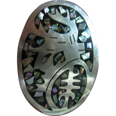 Taxco Mexico Sterling Silver 925 Abalone Inlaid Brooch/Pin/Pendant