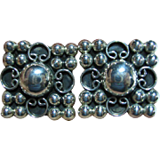 Sterling 925 Taxco Mexico Classy Square Etruscan Clip-On/Clips Earrings